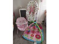 MAKE AN OFFER! Baby girl items - highchair, play mat and bouncer
