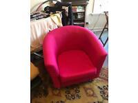 Pink armchair, like Ikea, made etc