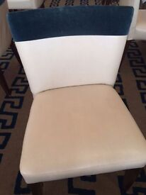 Ann Grays of London Restaurant Chairs, Faux Leather and blue suede x 40
