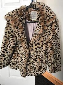 River island real fur leopard print coat