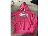 Pink superdry hoodie size small