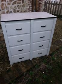 Vintage painted wooden eight drawer kitchen chest with formica top