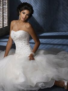 Maggie Sottero (Nora) white lace strapless wedding dress