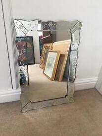 Etched Venetian style mirror