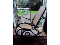 Vintage bentwood and wicker rocking chair