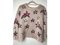 womens pink star knitted jumper