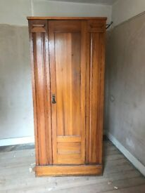 Freestanding Wooden Wardrobe | Original Brass Fittings | Single Door | *VINTAGE*