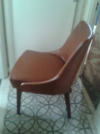 50s Tan Leather Lounge Armchair / Side chair with hardwood legs