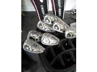 Cobra S3 Max 5 to SW irons, 3 to 5 wilson deep red woods, Callaway Cart Bag, Very good condition,