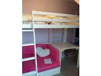 High Sleeper Bed with Desk and Single bed futon underneath