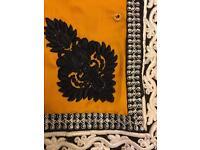 Beautiful yellow/black lace saree