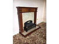 Wood fireplace with marble effect base for sale, electric fire included