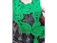 Handmade crochet skull scarf