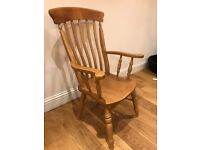 high backed wooden chair