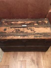 Antique/vintage/old wooden travel chest/trunk.