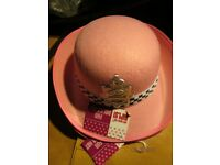 LADIES POLICE WOMEN FANCY DRESS HATS PINK X 2 AND ACCESSORIES PARTY OR HEN DO