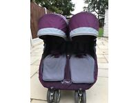 City mini double pushchair with foot muffs