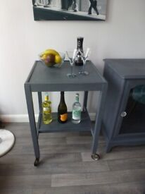 Drinks / kitchen trolley on wheels dark grey / butchers block