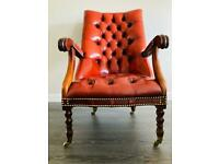 Antique leather chesterfield chair