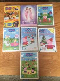 7 children's dvds inc peppa, Timmy time and ballet
