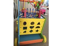 Baby wooden activity walker