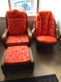 Whicker Chairs and Footstool