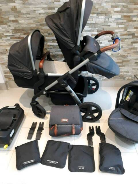 2d6ef390896 Silvercross wave double   single pushchair in Granite with matching car  seat