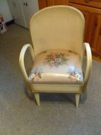 Commode Chair. Vintage Sixties Lloyd Loom Style. Original Paint and Upholstery.