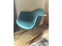Lovely Eames style teal rocking chair