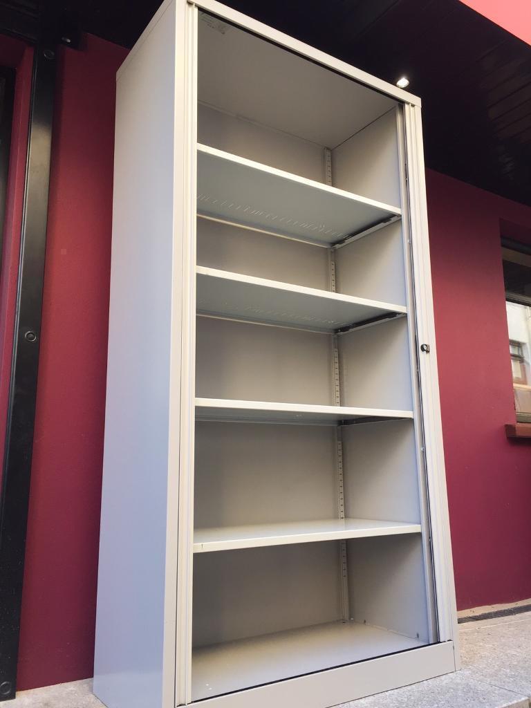 Bisley 2m tambour storage cabinet c/w key