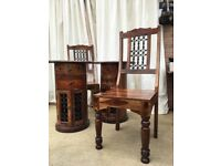 Maharajah Indian Dark Rosewood Bedside tables and two chairs