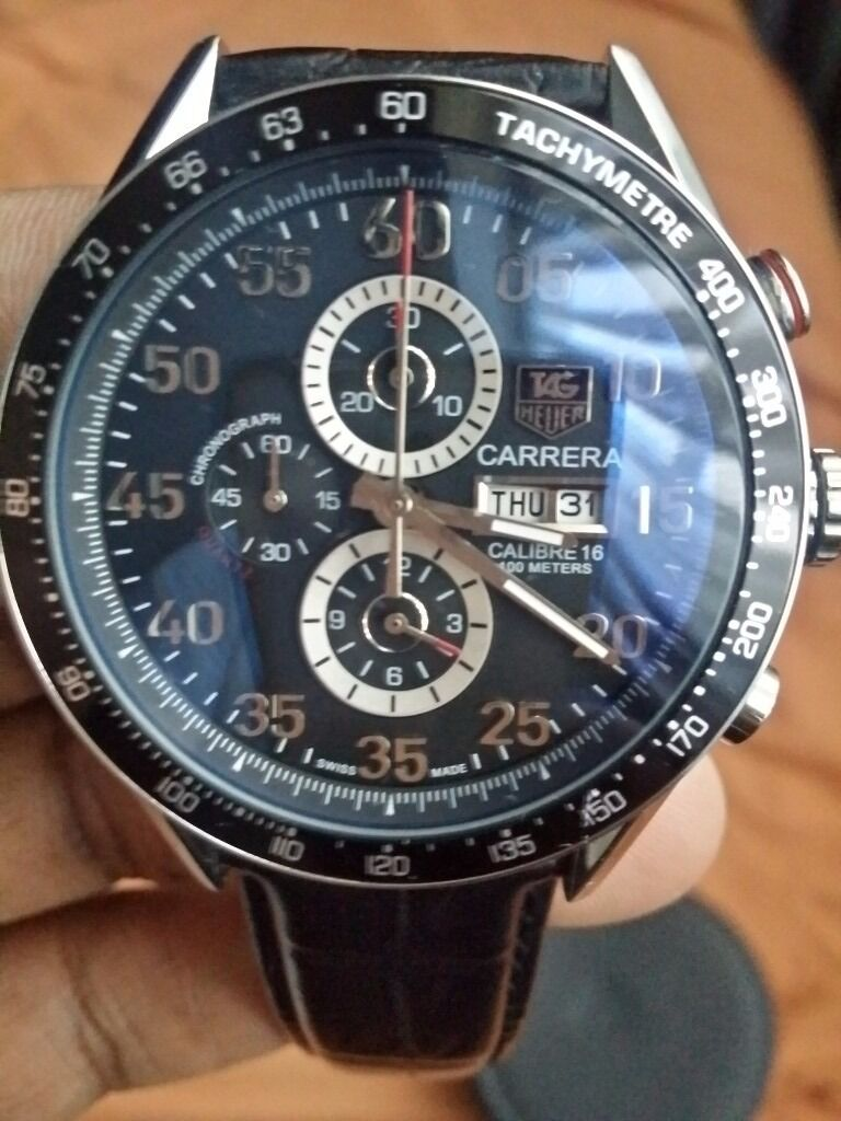 TAG Heuer Carrera Calibre 16 Chronograph Black Leather strap Watch
