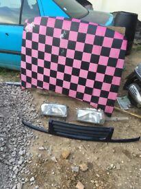 Vw vento front end bonnet lights grille