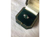 Emerald & Diamond three-stone 18ct Gold Ring