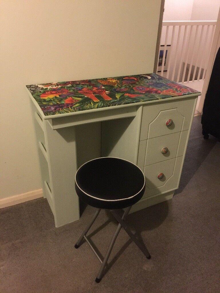 Pretty Small Desk Dresser With Laurel Burch Jungle Scene Top Solid Wood
