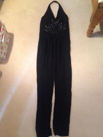 Black plunge Swarovski crystal Jumpsuit size 8