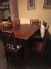 Indian Rosewood Dining Table & 6 Chairs