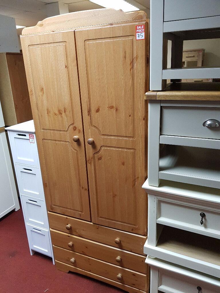 Nordic 2 Door 3 Drawer Wardrobe - Pine