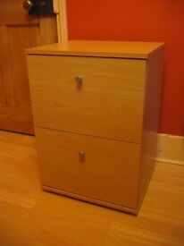 2-drawer filing cabinet, beech effect, with suspension files