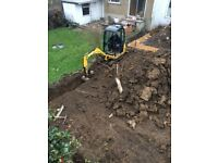 0.8t-1.5 ton mini Diggers & driver hire- DPM Groundwork Services, footings,muckaway lorrys,dumpers