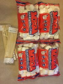Giant Marshmallows x4 packs and Wooden Skewers