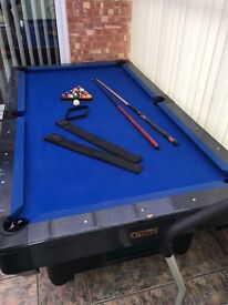 Large slate bed pool table
