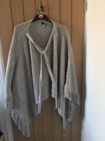 M&S limited edition light grey knitted shrug/poncho. Barely used.