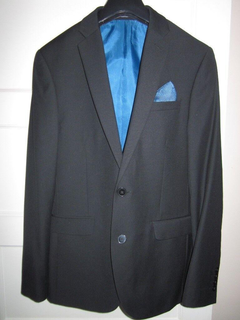 Black Prom Suit, 3 piece, Slim Fit, Burton, Excellent Condition ...