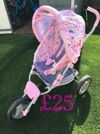 Baby born dolls car seat and pram