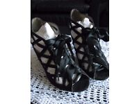 Ladies Brand New Black Ribbon Tie Peep-Toe Shoes