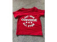 New Red converse tshirt age 6-9 months