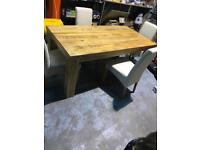 6FT OAK TABLE AND 4 FABRIC CHAIRS