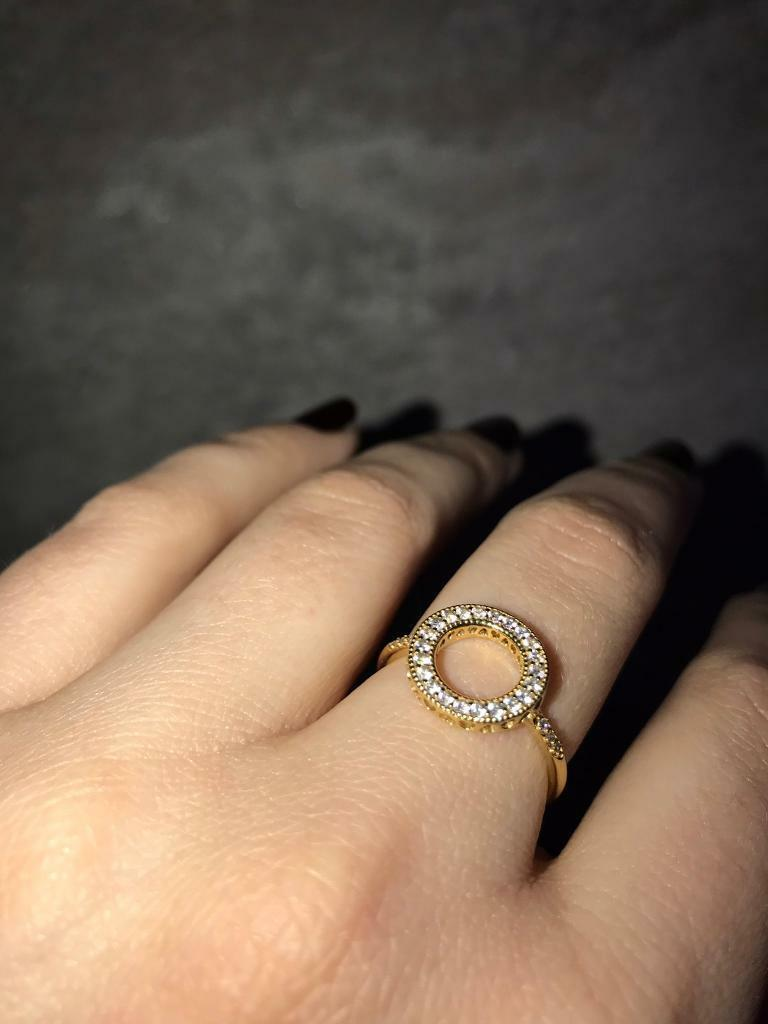 a2e3be6a7 HEARTS OF PANDORA HALO RING 18ct Gold Plated, Cubic Zirconia, #167096CZ  *NEW* Size 56.