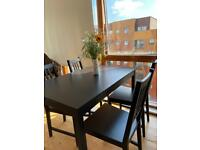 Black Dining Table Set (4 Chairs + Table)